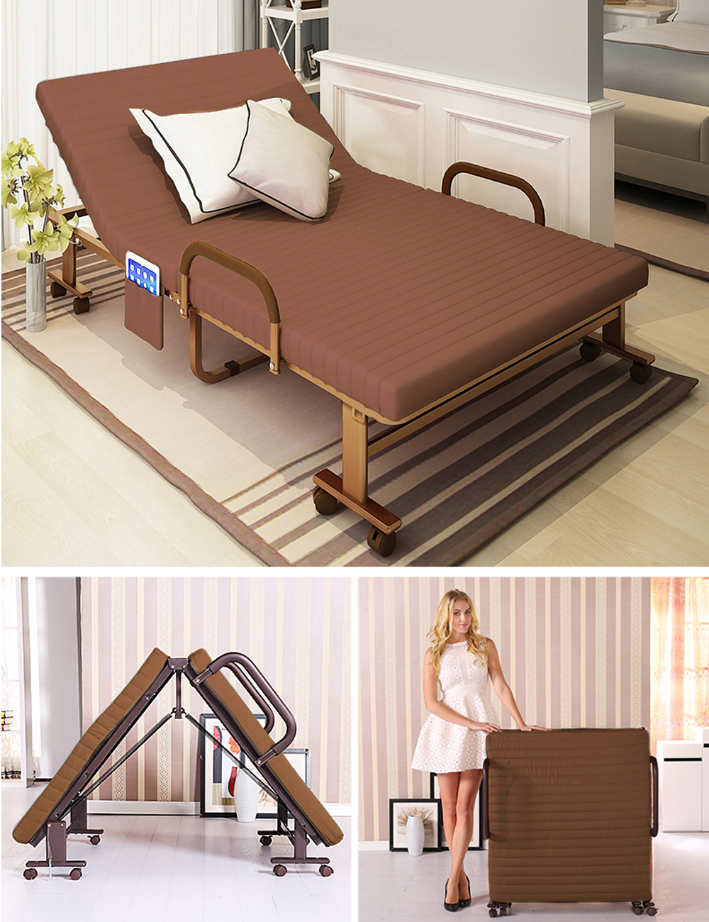 Metal Fold up Guest Visitor Bed With Mattress Foldable ...