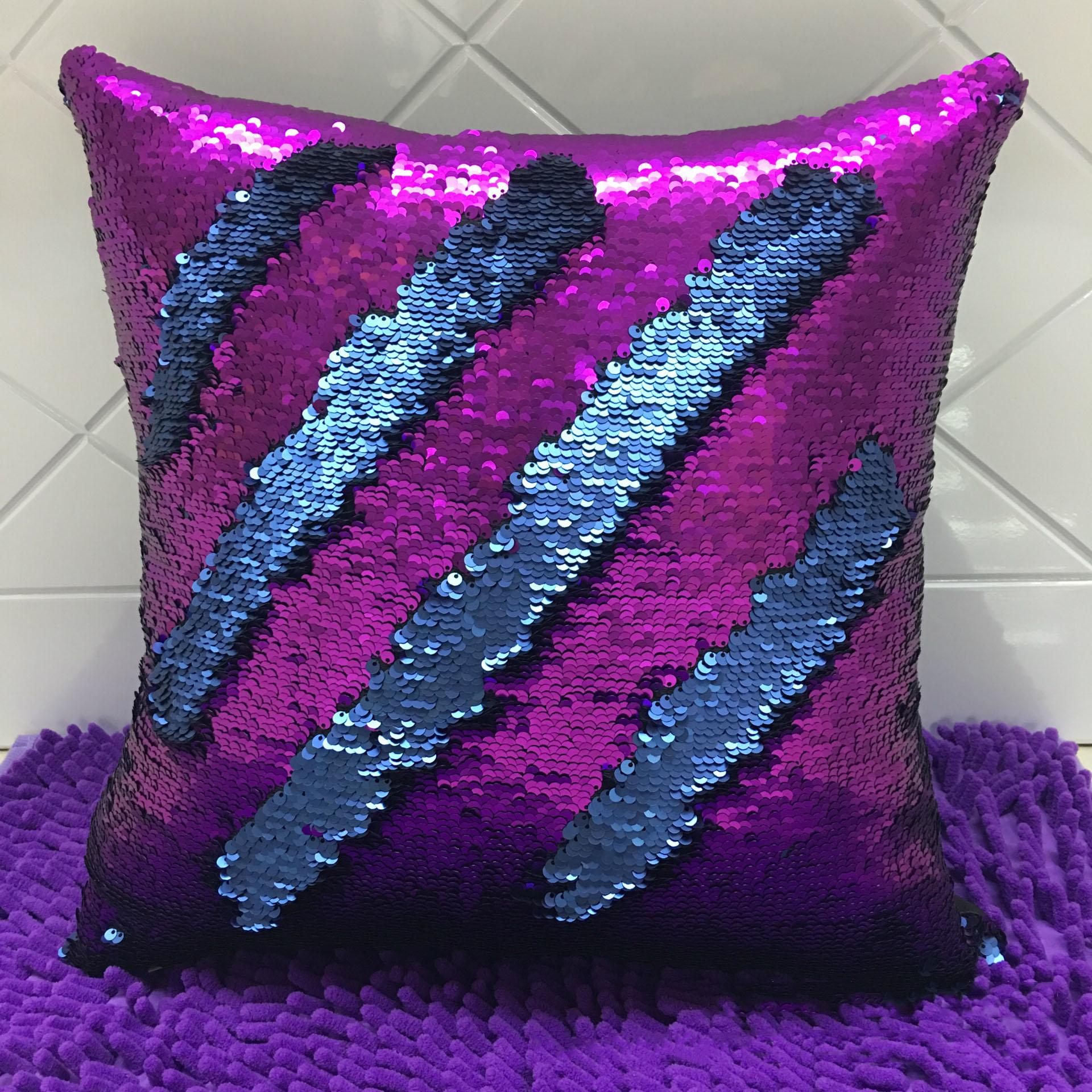 UK Magic Mermaid Pillow Case Reversible Sequin Glitter Sofa