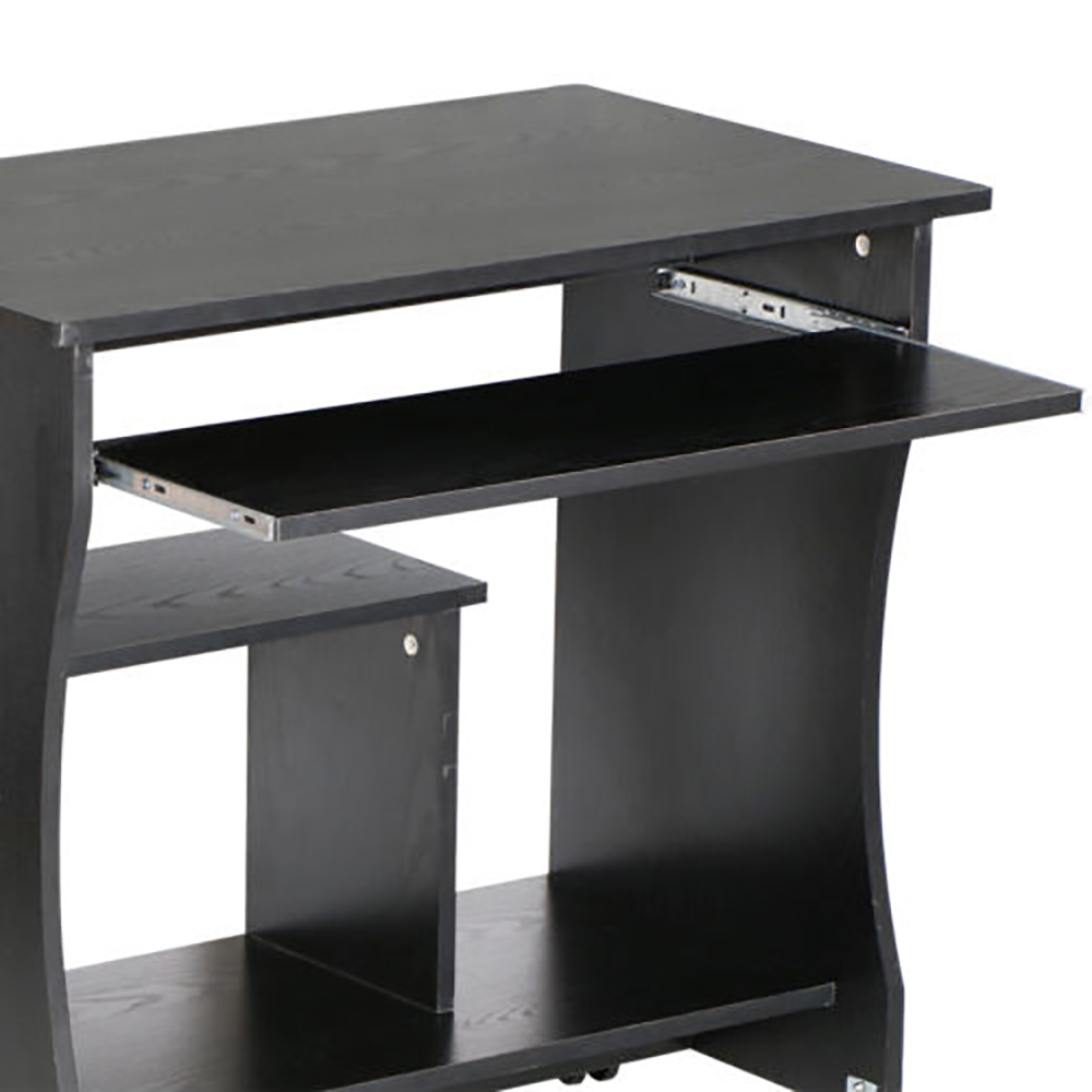 Black Computer Desk PC Table Workstation With Storage Shelves Unit Home Office