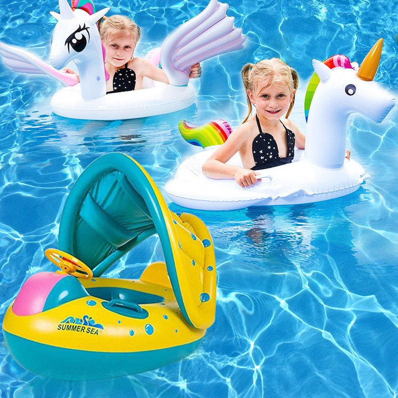 Details about Baby Kids Pool Float with Canopy Inflatable Swimming Ring  Swim Floats for 0-6Yrs