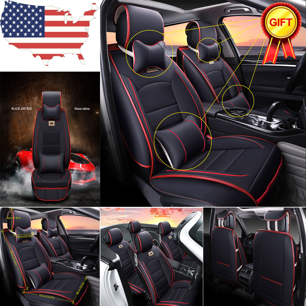 Universal Seat Cover 5-Seat Front+Rear Deluxe PU leather Cushion With Pillow Set