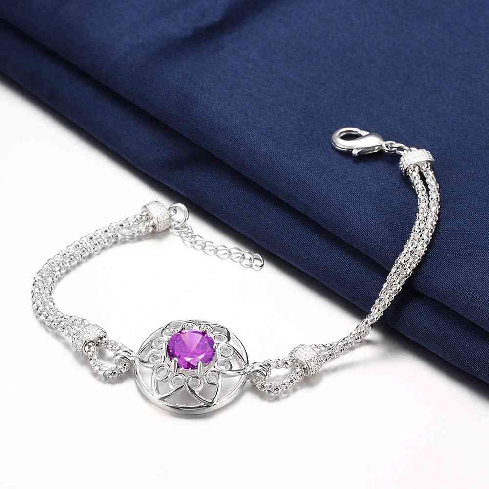 Fashion 925 Sterling Argent Massif Bijoux Cristal Violet Bracelet Pour Femmes H439