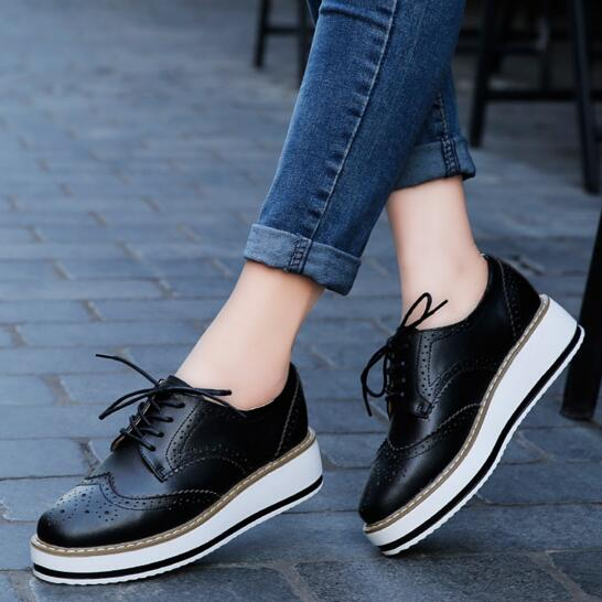 Womens Creeper High Wedge Heels Round Toe Lace up Platform Patent Leather Shoes