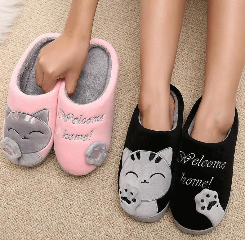 24b6c41afab27 Details about Women Winter Slippers Home Shoes Warm Plush Indoor Soft Floor  Cartoon Cat Couple