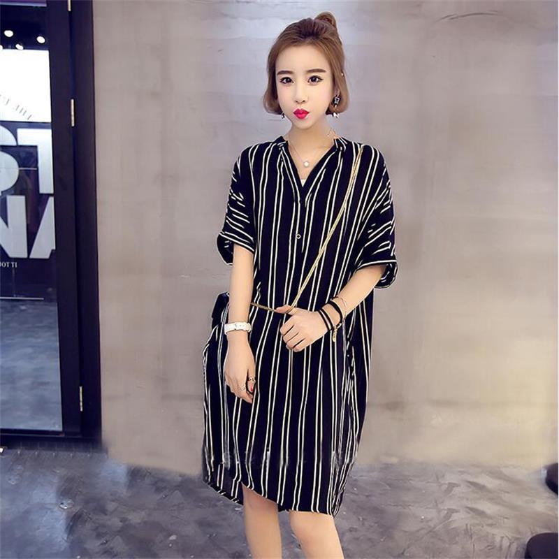 M-5XL-Korean-Women-V-Neck-Striped-Loose-Slim-Tunic-Casual-Summer-Shirt-Dress-New thumbnail 2