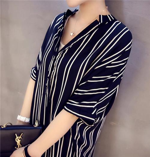 M-5XL-Korean-Women-V-Neck-Striped-Loose-Slim-Tunic-Casual-Summer-Shirt-Dress-New thumbnail 7