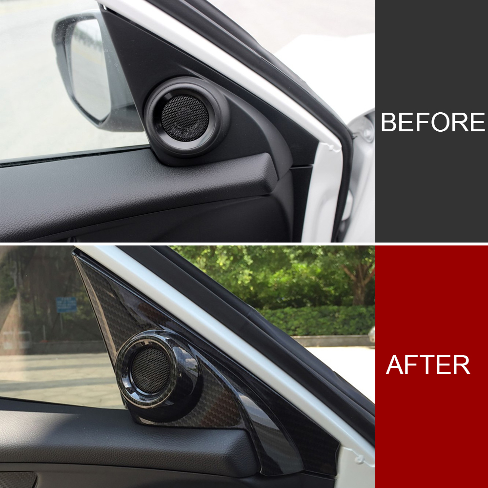 Carbon Fiber Interior Door Stereo Speaker Cover Trim For Honda HRV 2016-2019