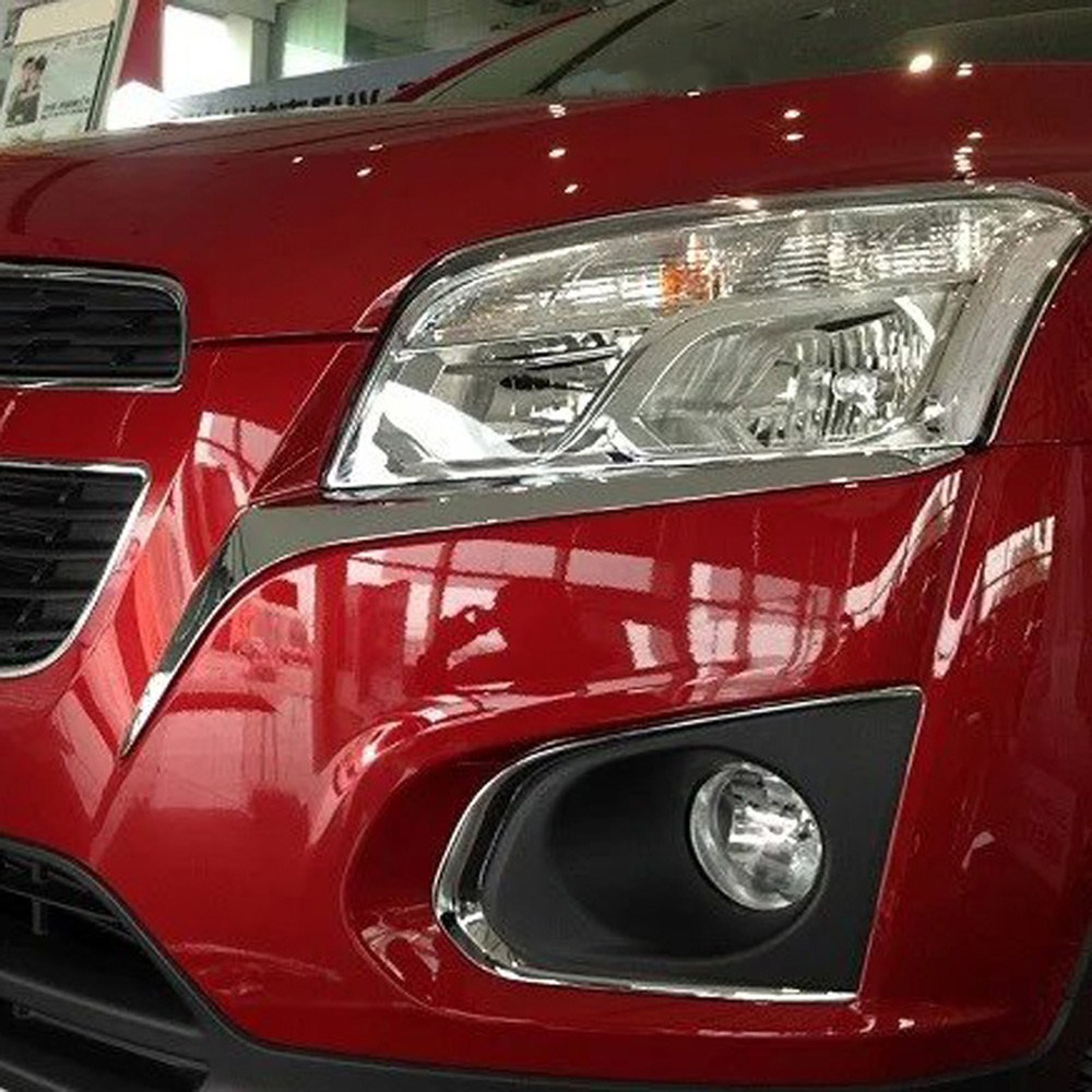Chrome Front Headlight Eyebrow Eyelid Cover For Chevrolet TRAX Tracker 2013-2016