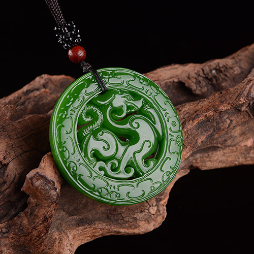 100/% Natural green Chinese Hetian Jade 100/% Hand-carved dragon Pendant