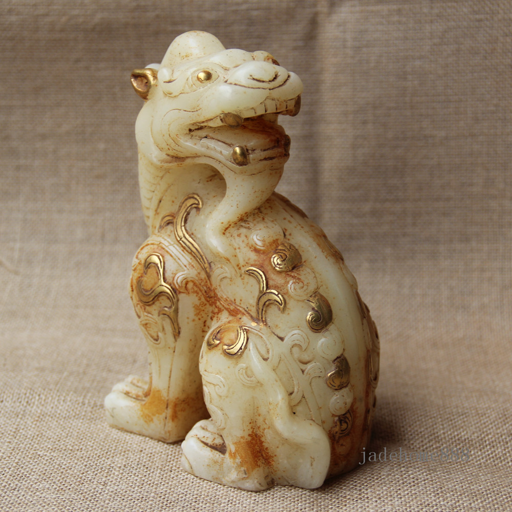"7/"" Old gilt White Jade Hand-carved Brave Troops Pixiu Beast Statue Sculpture"