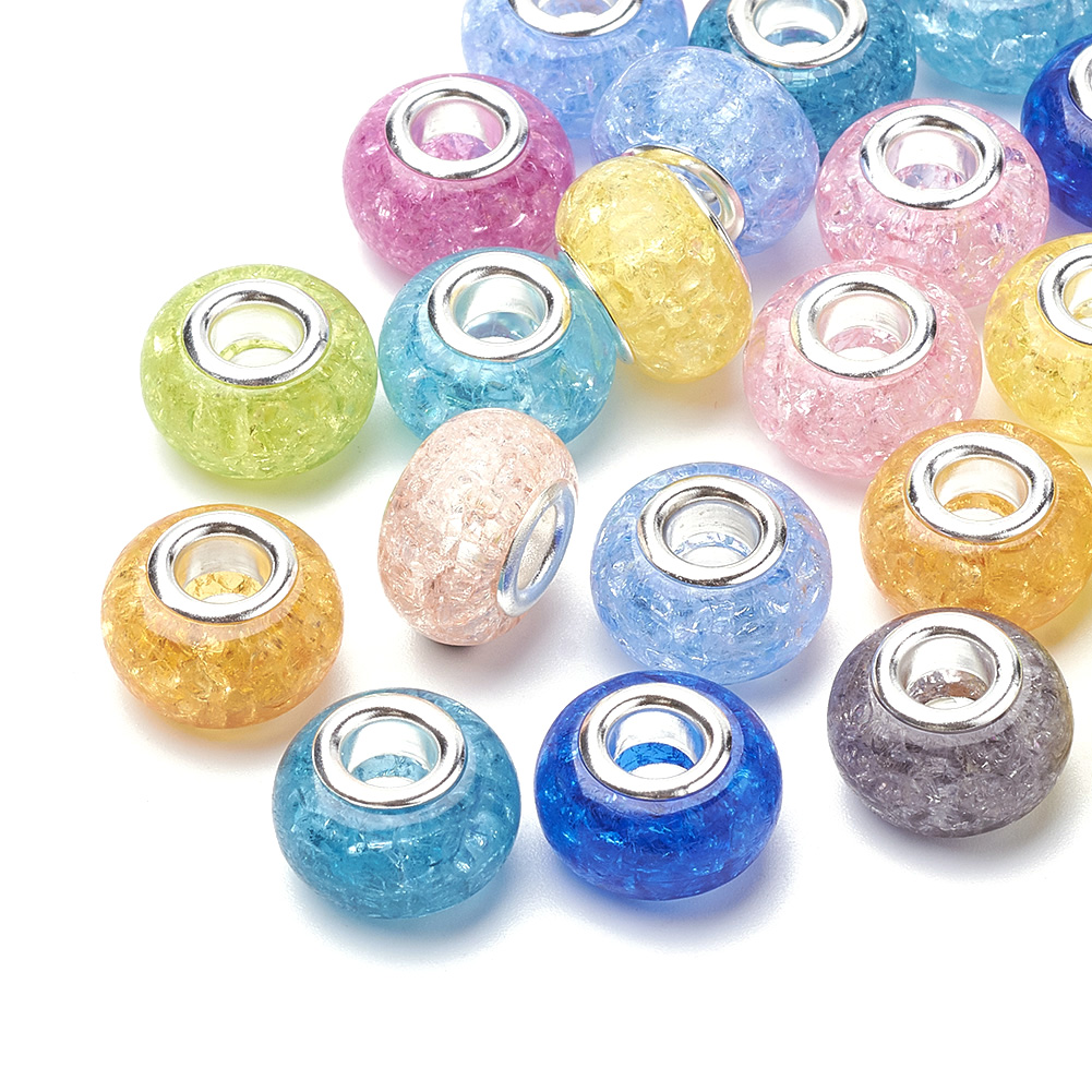100pcs Random Resin European Beads Smooth Rondelle Large Hole Loose Charms 14mm