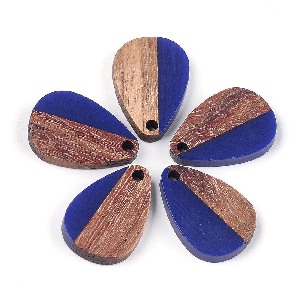 5pcs Half Wood Half Resin Drop Charms Inner Loop Smooth Dangle Pendants 28x18mm