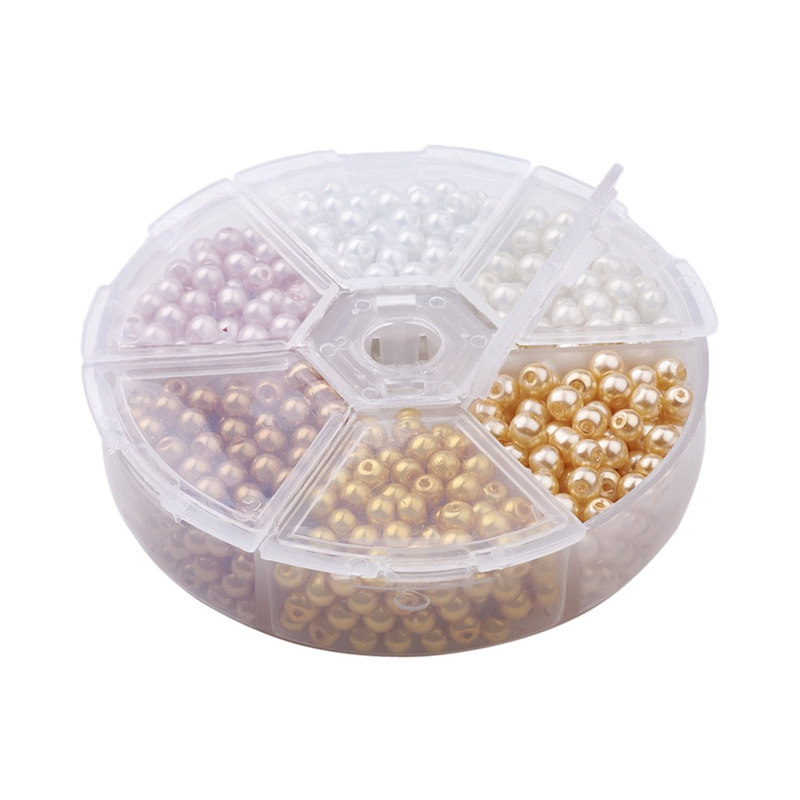 810pcs//Box Pearlized Glass Beads Faux Pearl Beads Round Mixed Color 4mm Beading