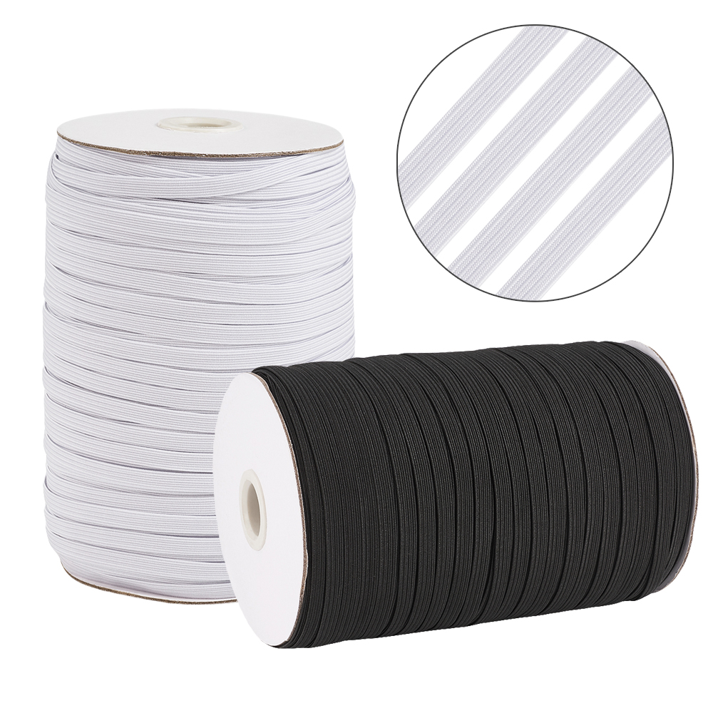 "100yds//Roll 3//8/"" Flat Elastic Cords Knit Thread Stretch Bands Ropes White 10mm"