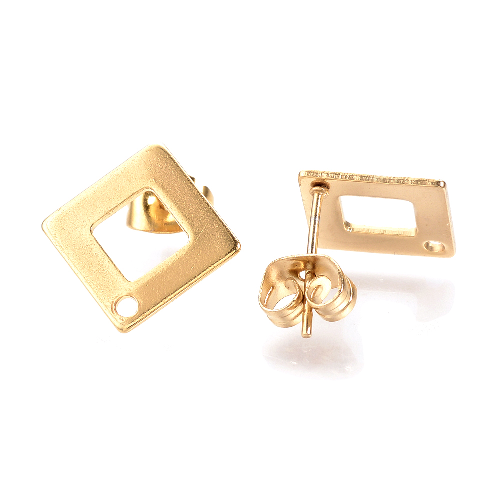 10pcs Stainless steel Gold Triangle With Ring Connectors Post Earrings Finding