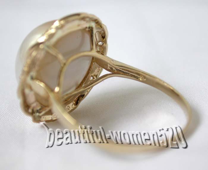 DM02 Set 20mm South Sea white Mabe pearl silver earring ring pendant SET