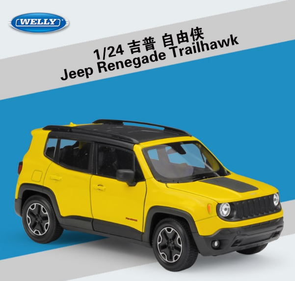 Welly 124 Jeep Renegade Diecast Metal Model Car New In Box Yellow