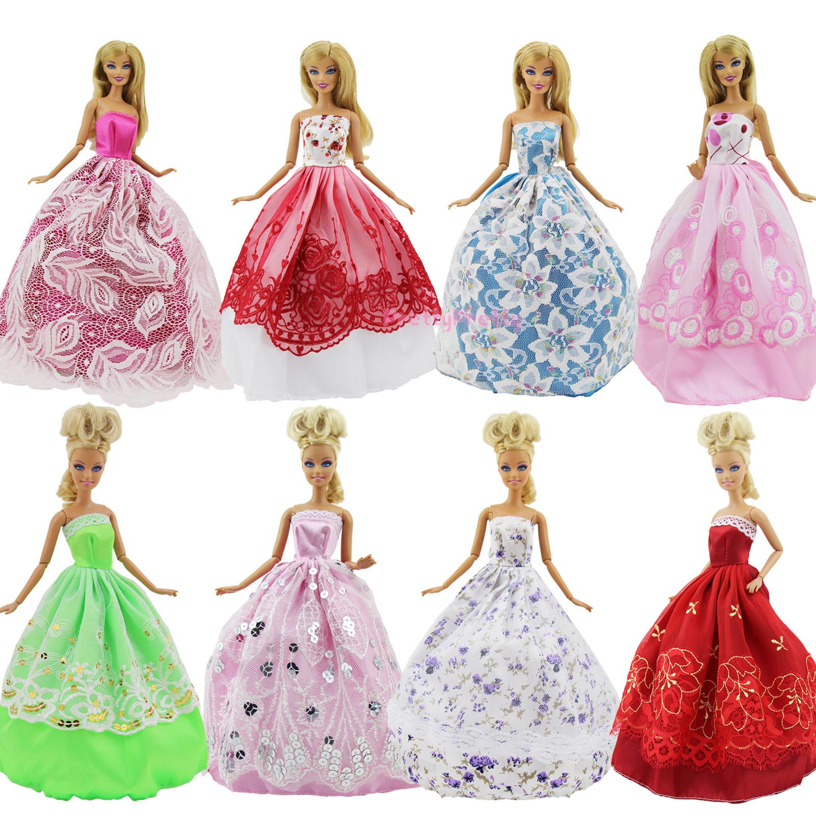 4 HANDGEFERTIGTE PUPPE Kleid Kleidung Kleider 10 Schuhe Für Barbie ...