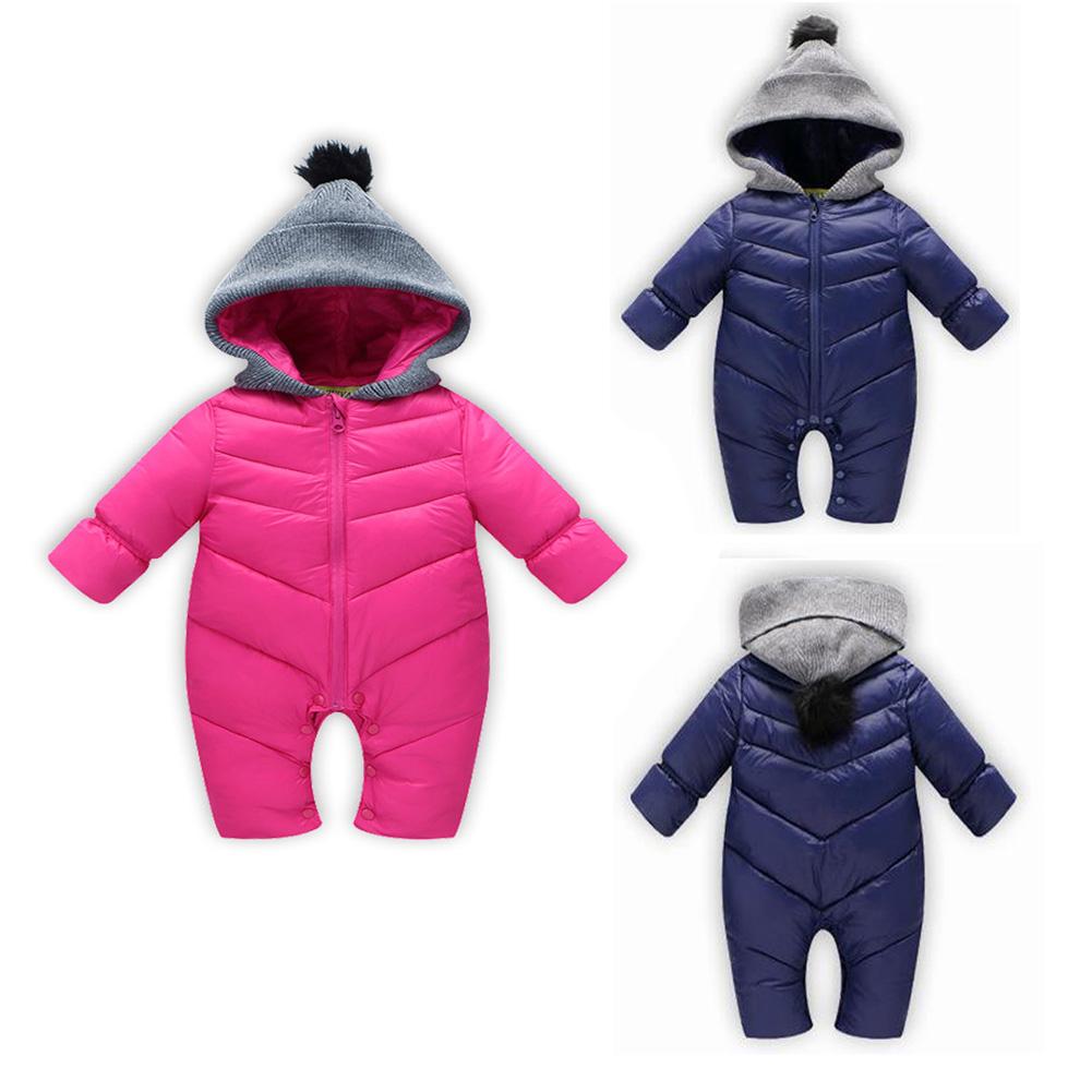 a679584f5f76 QW Newborn Baby Girls Boys Down Jacket Hooded Warm Tops Coat Romper ...