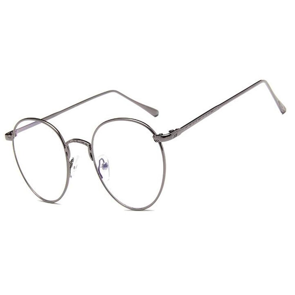 UK Fashion Vintage Round Glasses Metal Frame Clear Lens Hinge ...