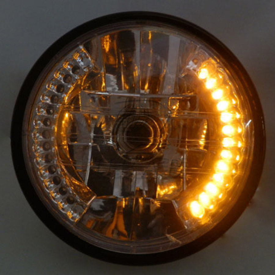 "8/"" Universal Motorcycle Headlight Integrated Turn Signal+Chrome Mount Bracket"