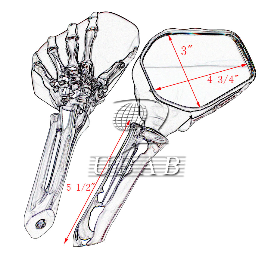 2x chrome motorcycle 3d skull hand claw skeleton side rear