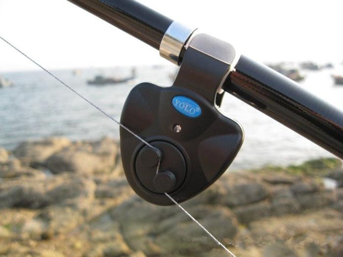Electronic LED Fishing Bite Alarm Finder Sound Alert Clip On Rod Sensitive Black