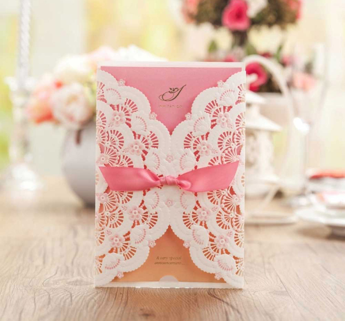 Personalized Pink&White Laser Cut Wedding Invitation Cards,Free ...