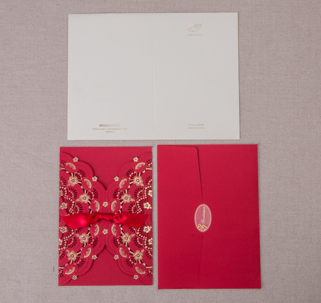 Free Personalized Red Wedding Invitation Cards Unique Laser Cut ...