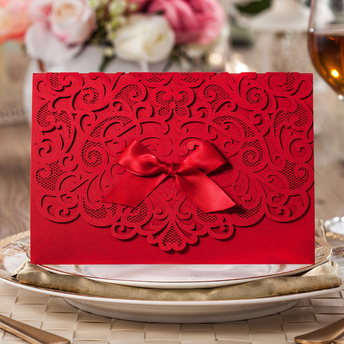 Red Ribbon Lace Laser Cut Wedding Party Invitation Cards With ...