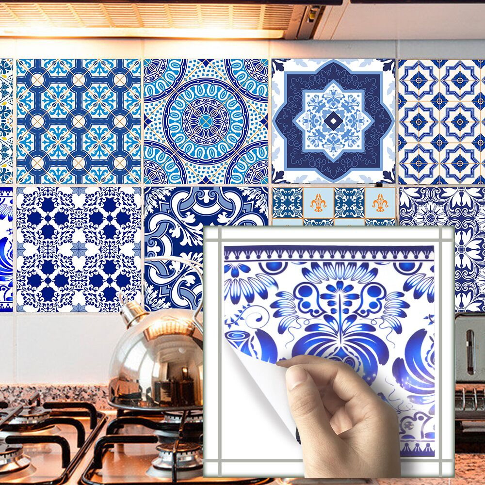 Blue-and-white Romantic Tile Wall Stickers DIY Kitchen Bathroom Home ...