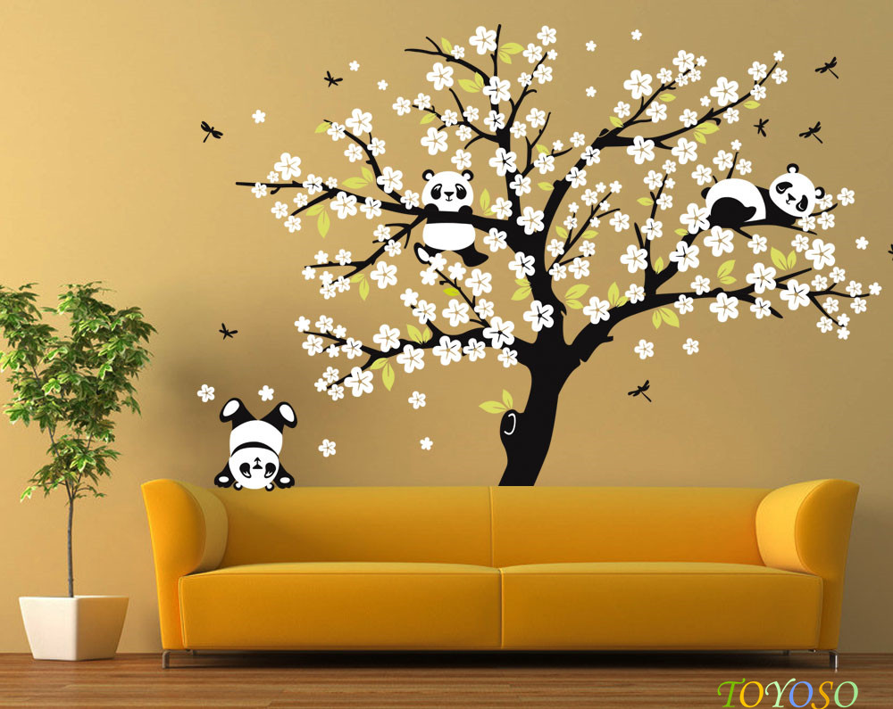 Flower Tree Panda Vinyl Wall Decal Living Room Decor Nursery Wall ...