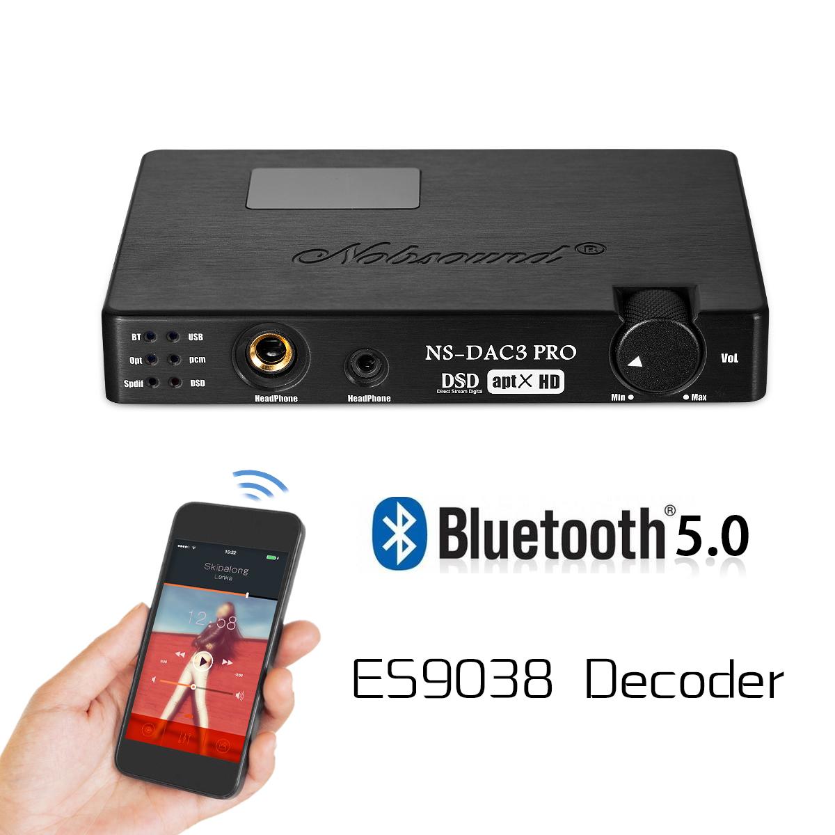 Portable ES9038 XMOS Bluetooth USB DAC OPT/COAX Decoder APTX