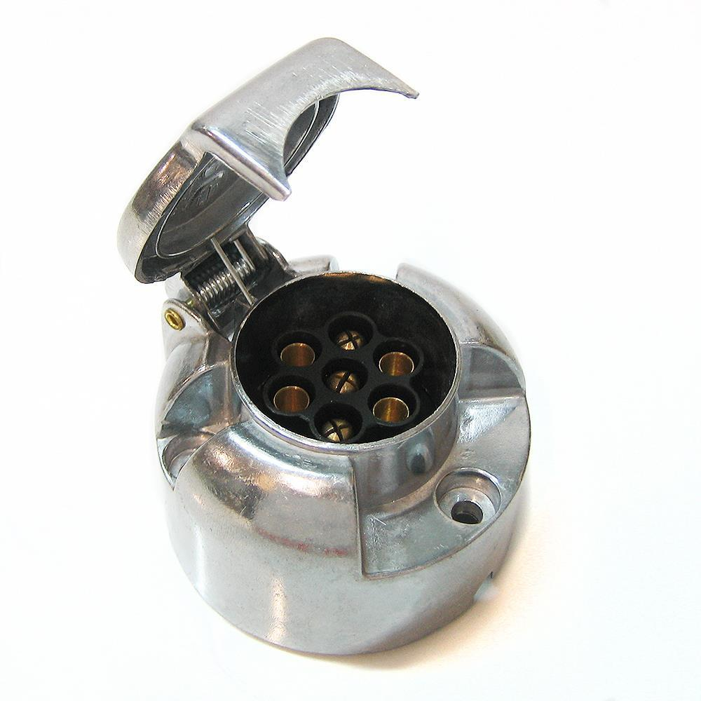 7 Pin Socket Plug Trailer Wiring Lights 12v Volt Aluminium Metal 12n