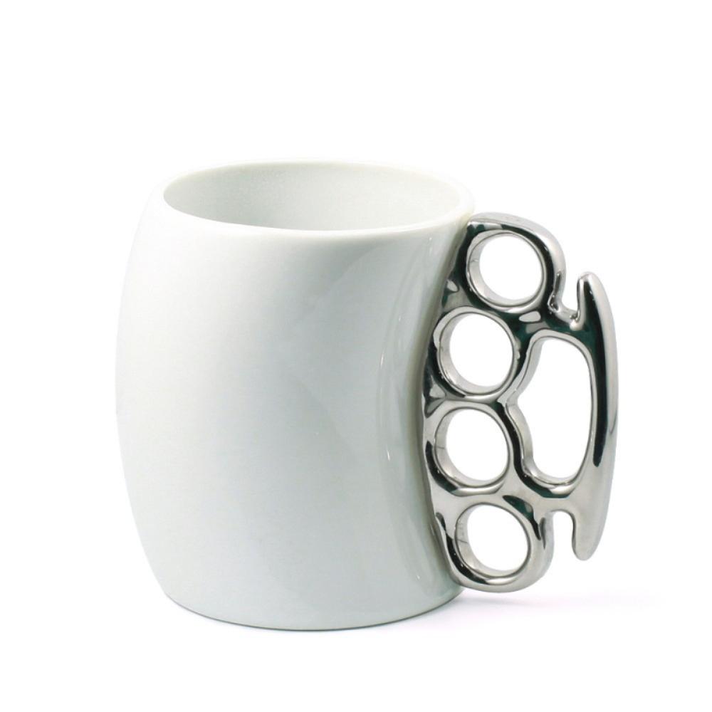 knuckle duster mug fisticup ceramic coffee mug with brass knuckle