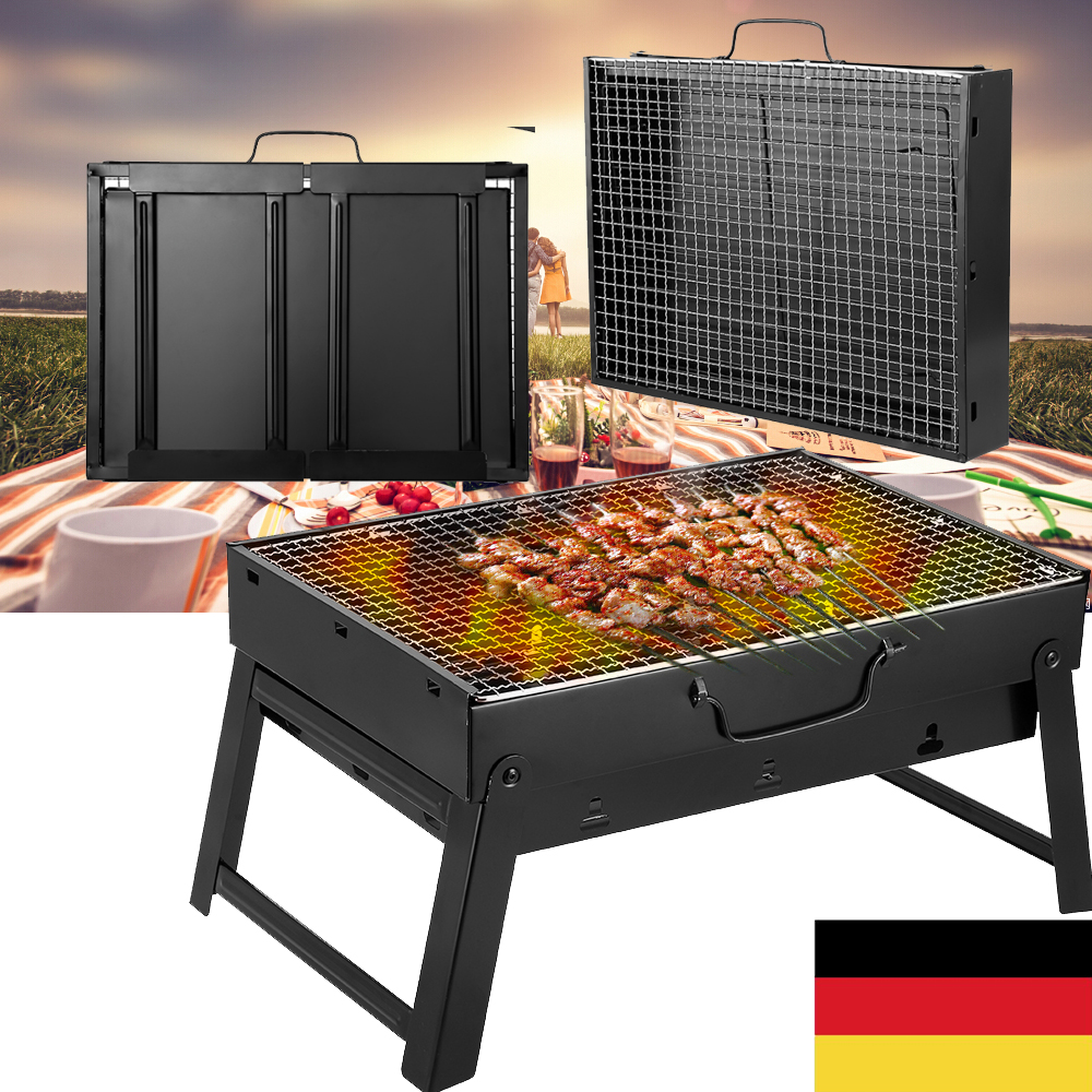 Outdoor Klappgrill Koffergrill BBQ Camping Grill Holzkohlegrill Tragbar Faltgril
