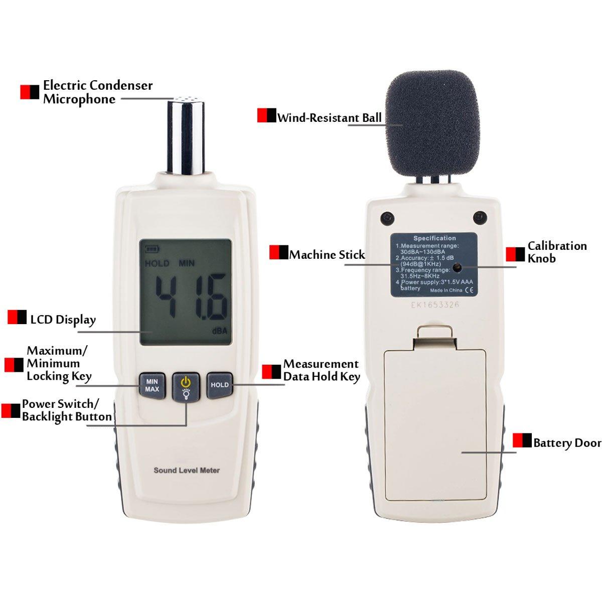 30~130dB Dezibel Schallpegelmesser Handheld Schallpegelmessgerät Lärm Messgerät