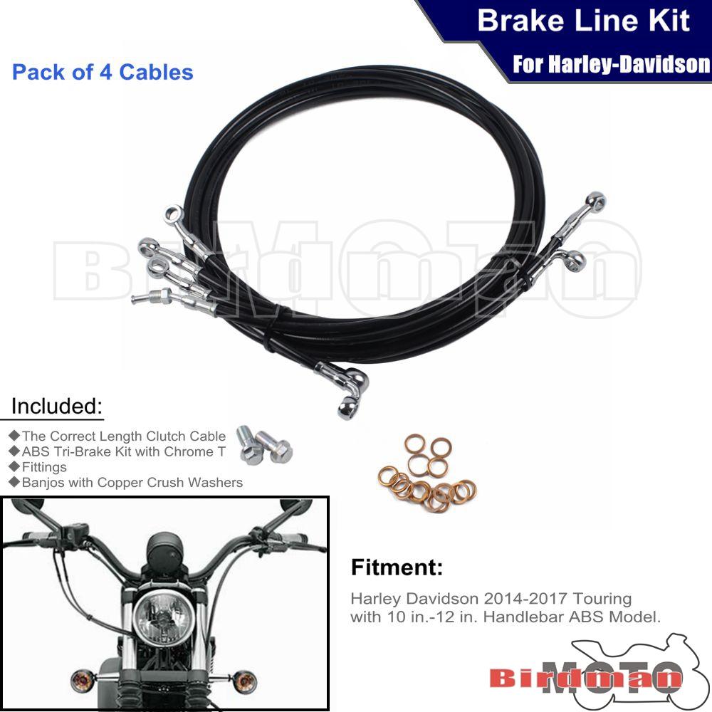 "Burly 12/"" Handlebar Black Brake Line Cable Kit for 2012-2017 Harley Dyna w// ABS"