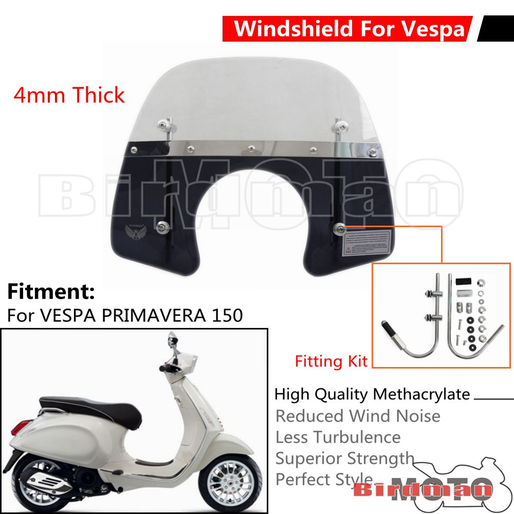 Scooter Clear Windshield Windscreen with Fitting Kit For Vespa Primavera S 125