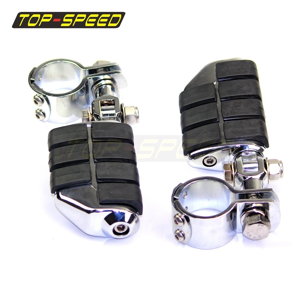 """Chrome Front Foot pegs Footrest For Harley 1 1//2/"""" Highway Engine Crash Bar New"""