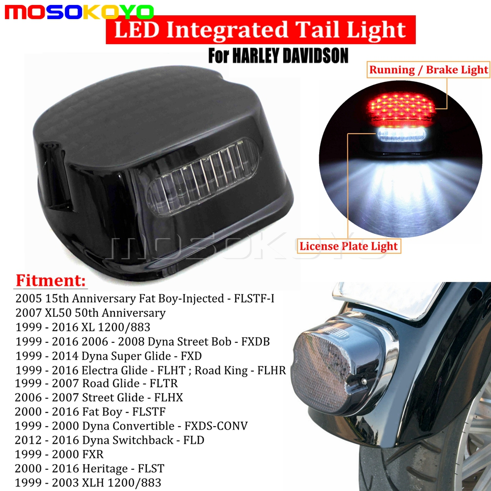 Details about Smoke LED ke Taillight License Lamp For Harley Dyna  on