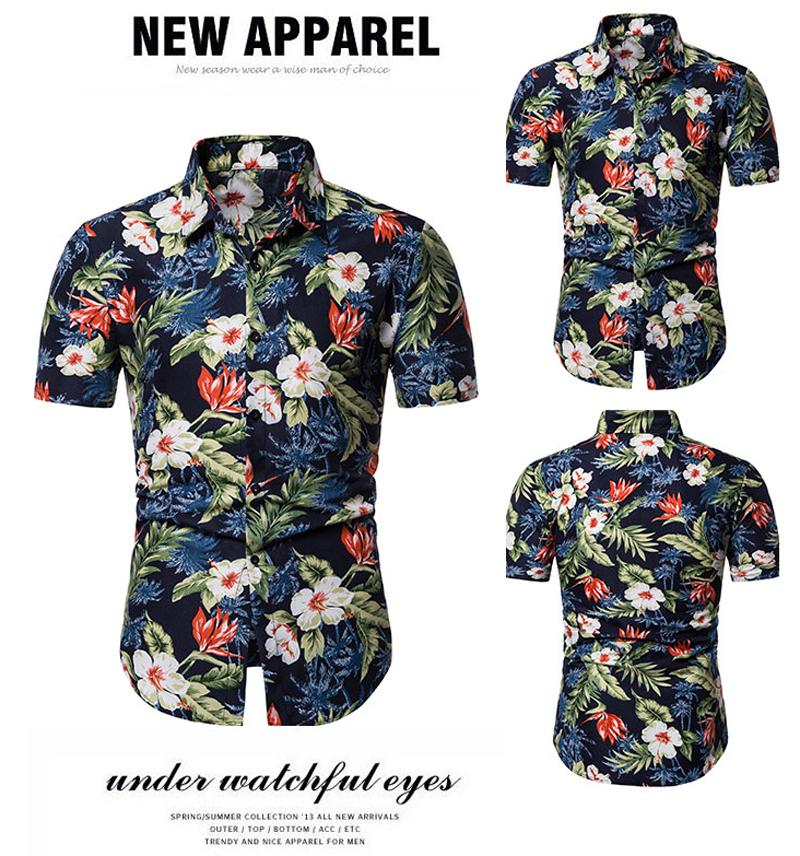 Casual Men Shirt Flower Color Shirt Collar Mens Shirts