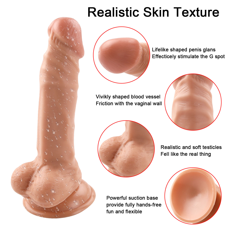 Realistic 8-inch Curved Dildo Flexible Cock Lifelike Big