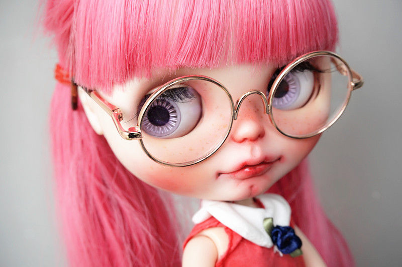 """Golden Glasses Round Prop For 12/"""" Neo Blythe Doll G/&D"""
