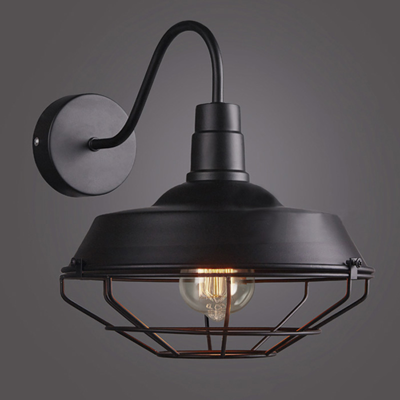Details About Single Light Down 1 Barn Warehouse Led Wall Sconce With Cage 14
