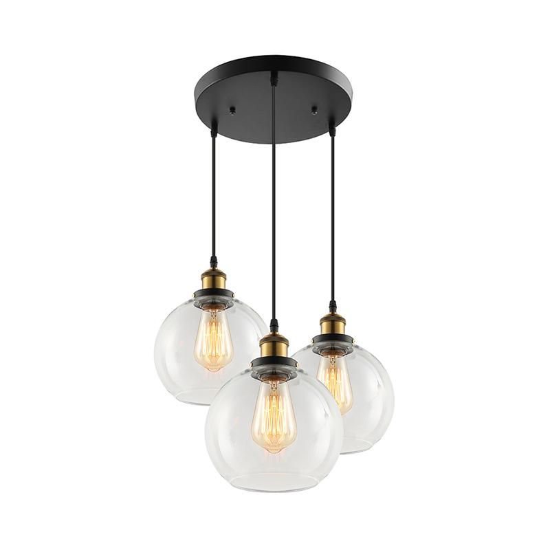 3 Light Chandelier Clear Globe Cluster Pendant Clear Glass Shades Kitchen Island Ebay