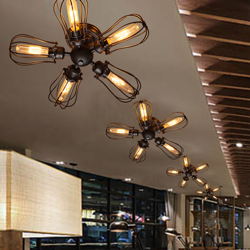 Details About Vintage Industrial 5 Cage Ceiling Lamp Steampunk Kitchen Mount Ceiling Light