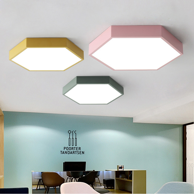 online retailer 24690 877bf Details about Modern Macaron Acrylic LED Ceiling Light Hexagon Flush Mount  Lighting Fixture