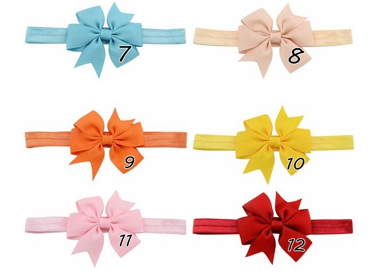 20 Pcs Cute Bowknot Headbands Hair Elastics Band baby girls Infant  Hair A152