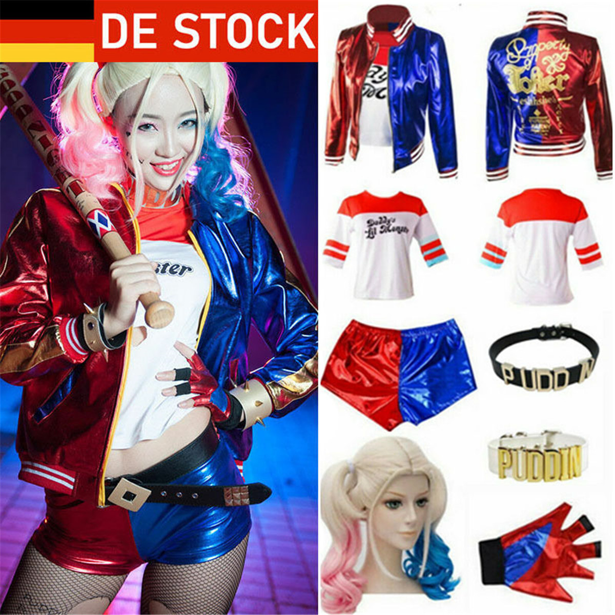 Karneval Suicide Squad Harley Quinn Damen Fasching Cosplay Kostüm Outfits Suit